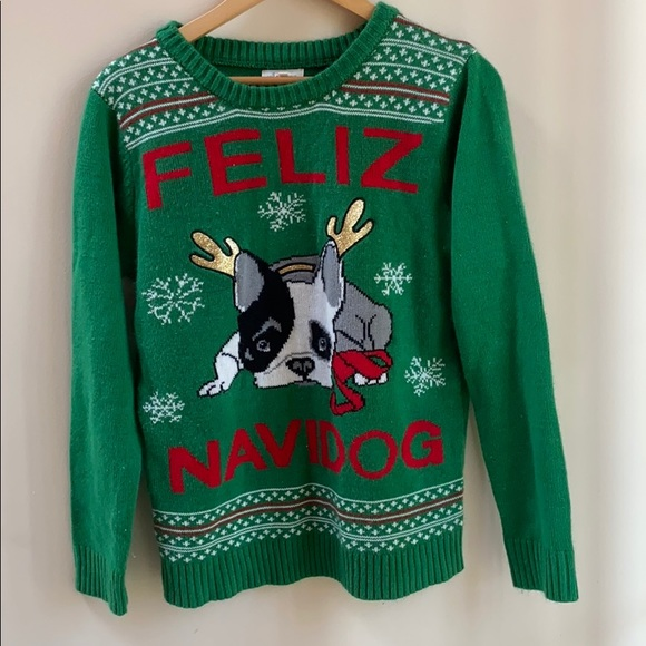 Ugly Christmas Sweater with Boston terrier dog
